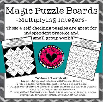 Integer Operations Magic Puzzle Boards