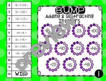 Integer Operations - Math Station Bump