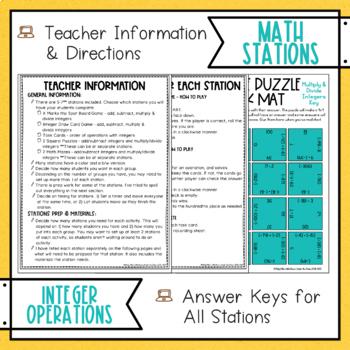 Integer Operations Math Stations