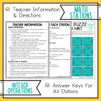 Integer Operations Math Stations