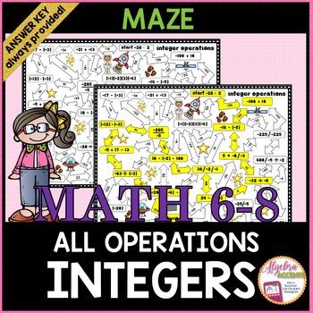 Integer Operations Maze Mixed Practice