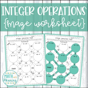 Integer Operations Maze Worksheet - 7.NS.A.3 by Math With Meaning