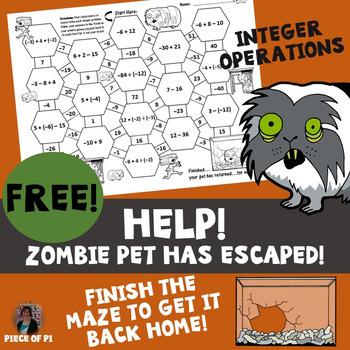 Integer Operations Maze Zombie Theme {Simple Level} FREEBIE
