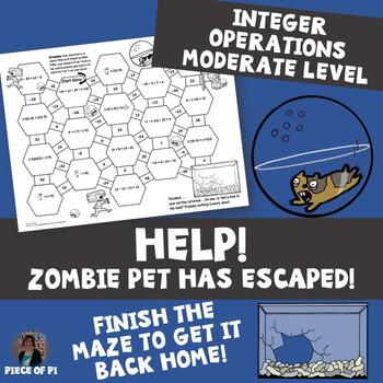 Integer Operations Maze Zombie Theme {Moderate Level}