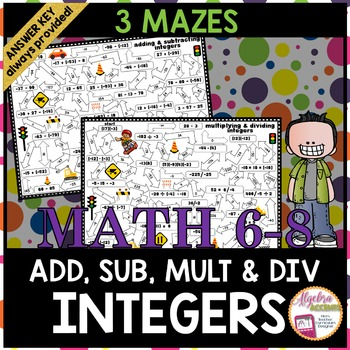 Integer Operations Mazes: Adding, Subtracting, Multiplying and Dividing