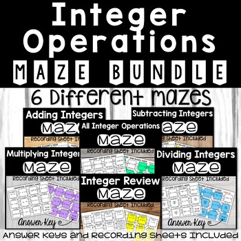 Integer Operations Mazes BUNDLE