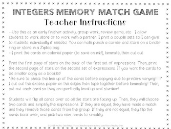 Integer Operations Memory Match Game! Great for Early finishers or Math Centers!