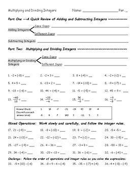 Integer Operations: Multiplication and Division, with some review