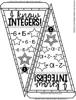 Integer Operations Pennant {adding and subtracting}