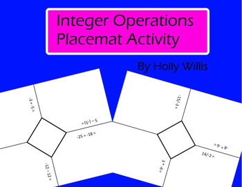Integer Operations Placemat Activity