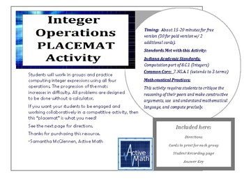 Integer Operations Placemat Activity (Free version)