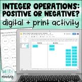 Integer Operations: Positive or Negative? DIGITAL Card Sort for Google Drive™