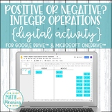 Integer Operations: Positive or Negative? DIGITAL Card Sort for Drive & OneDrive