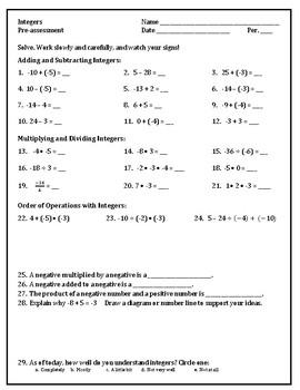 Integer Operations Pre-assessment
