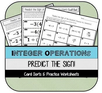 Integer Operations: Predict the Sign Card Sorts & Practice Worksheets
