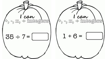 Integer Operations Pumpkin Pennants, Negatives, Halloween TEKS 6.3D