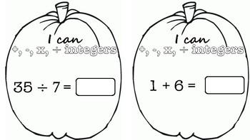 Integer Operations Pumpkin Pennants TEKS 6.3D