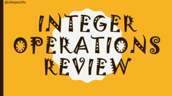 Integer Operations Review Powerpoint