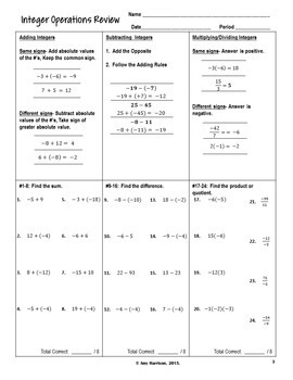 Integer Operations Review and Questions