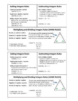 Integer Operations Rules Handout