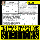 Integer Operations : Middle School Math Stations