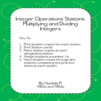 Integer Operations Stations: Multiplying and Dividing Integers- 7.NS.2a, 7.NS.2b