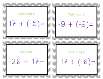 Integer Operations Task Cards