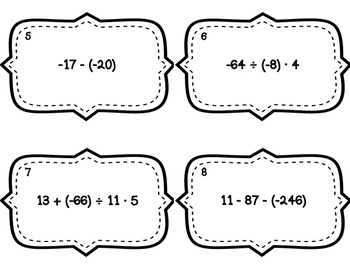 Integer Operations Task Cards - With & Without QR Codes