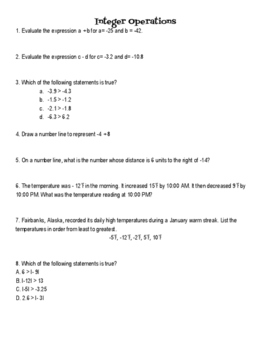 Integer Operations Test Review
