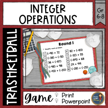 Integers Trashketball Math Game