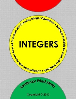 Integer Operations Unit - Foldable 4 Interactive Notebook & HW, Middle Schl Math