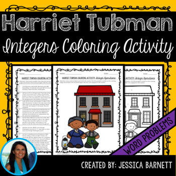 Integer Operations Word Problems Coloring Activity Harriet Tubman Theme