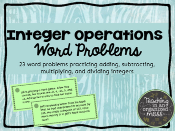 Integer Operations Word Problems