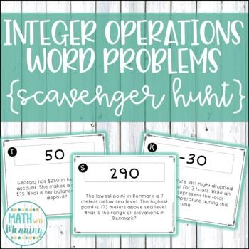 Integer Operations Word Problems Scavenger Hunt - CCSS 7.N