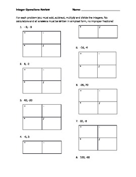 Integer Operations Worksheet