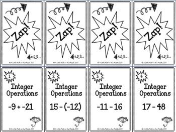 Integer Operations ZAP Cards TEKS 6.3D