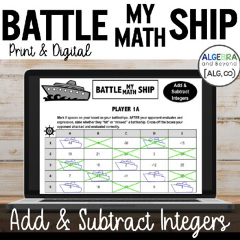 Integer Operations (add and subtract only) - Battle My Math Ship Activity