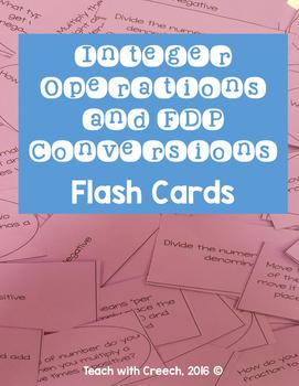 Integer Operations and Fraction, Decimal, Percent Flash Cards