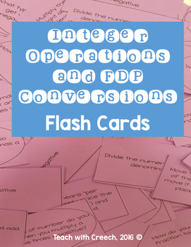 Integer Operations and Fraction, Decimal, Percent Flash Cards
