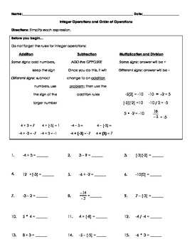 Integer Operations and Order of Operations