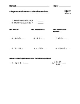 Integer Operations and Order of Operations Quiz (Middle School Math)