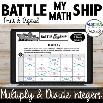 Integer Operations (multiply and divide only) - Battle My Math Ship Activity