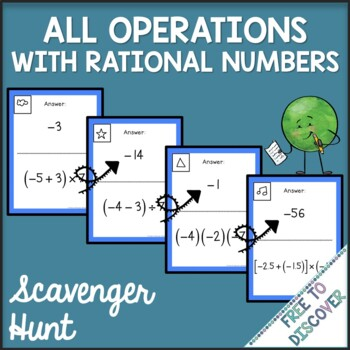 all operations with rational numbers scavenger hunt by free to discover. Black Bedroom Furniture Sets. Home Design Ideas