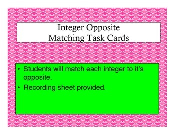 Integer Opposite Matching Task Cards