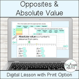 Integer Opposites and Absolute Value Digital Lesson