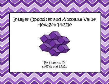 Integer Opposites and Absolute Value Hexagon Puzzle- 6.NS.6a,6.NS7