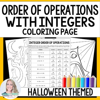 Order of Operations with Integers Coloring Worksheet by Lindsay Perro