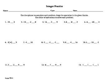 Integer Order of Operations Multi Step Worksheet with Spinner