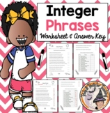 Integer Phrases Worksheet with Answer KEY Negatives Positives Integers