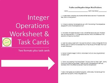 Integer (Positive and Negative!) Word Problems - Worksheet & Task Cards